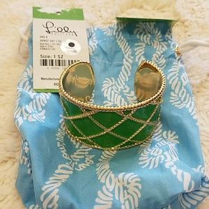 Lilly Pulitzer gold green bracelet cuff