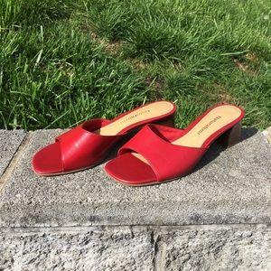 Naturalizer red slide sandals, size 7