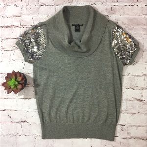 august silk Sweaters - August Silk Sequin Sleeve Cowelneck Top