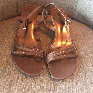 Unlisted Shoes - Brown strapped heals with rhinestones