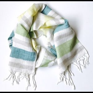 Bondhu Accessories - Linen Color Block Scarf with Fringe