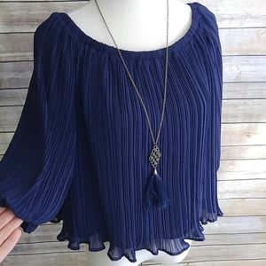 Lush Tops - Lush gorgeous pleated navy blue top
