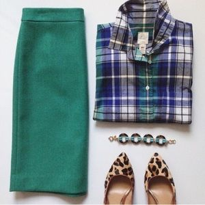 The Pencil Skirt by J.Crew sea foam green wool 4