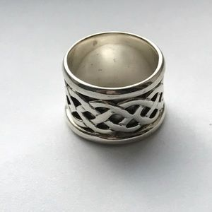 925 sterling silver Celtic wide band ring sz 7