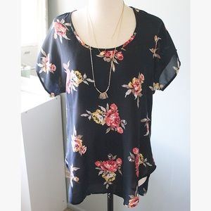 Navy Blue Floral High-Low Blouse