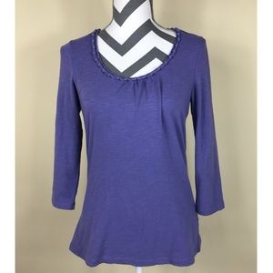 Boden Solid Purple Knotted Neck Top