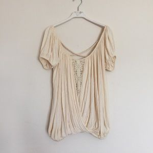 Free People Tops - Free People cream crochet draping blouse small