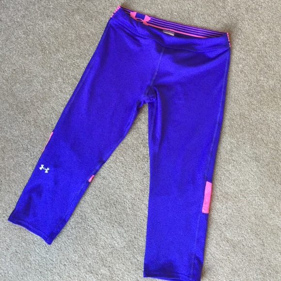 dda7912611 Girls pink & purple under armor yoga capris. NWOT