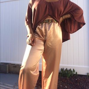 Pants - Vintage Rosegold Satin Pants