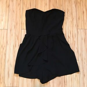 Express Strapless Black Romper with Pockets