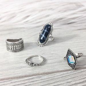 Pins & Needles Jewelry - Boho Blue Gem Midi Ring Set