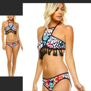 Threadzwear Other - Tassel halter top bikini