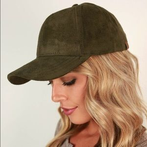 Forest army green vegan suede baseball dad hat