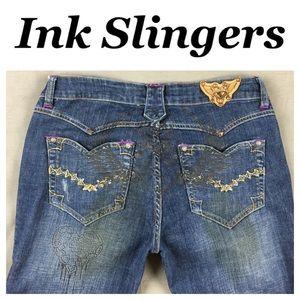 Ink Slingers Denim - 💙Ink Slingers embroidered/printed flare Jean sz 3