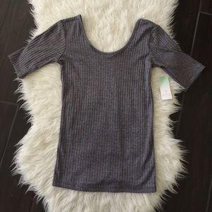 Decree Tops - Grey ribbed top. Grey ribbed shirt. Grey shirt