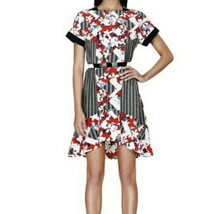 Peter Pilotto Red and Black Floral Dress