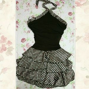 Women BCX Polka Dot Halter Brown Dress- Large