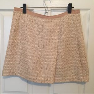 H&M tweed-like gold/white skirt Sz 14
