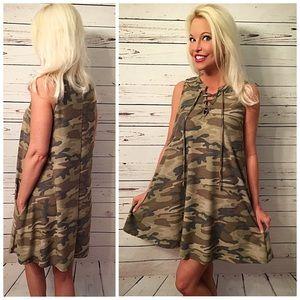 Dresses & Skirts - Camo lace up pocket dress!