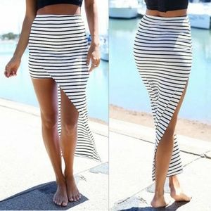 Dresses & Skirts - Stripe Hi-Low Skirt
