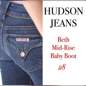 Hudson Jeans Denim - Hudson Beth Mid-Rise Baby Boot Jeans 28 Jets Blue