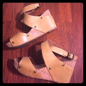 Lucky Brand Shoes - Lucky Brand leather/cork wedge sandals. Size 8.5