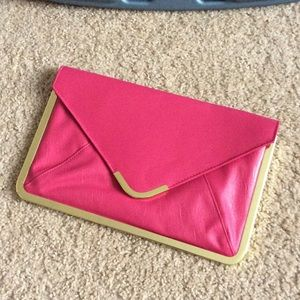 Pink ASOS Envelope Clutch w/Gold Trim
