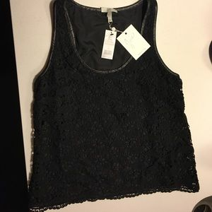 Joie lace and leather tank top