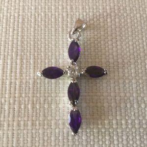 Jewelry - 18K GP Amethyst CZ Pendant Vintage