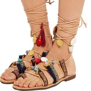 NWT Mabu by Maria BK Embellished Leather Sandals