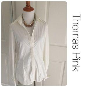 Thomas Pink Tops - Thomas Pink Slim Fit Stretch button-down shirt 10