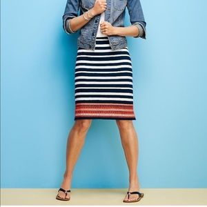 Talbots embroidered navy striped skirt 💕