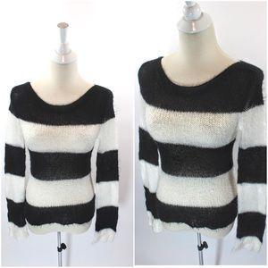 90's Grunge Goth Fuzzy Mohair Striped Sweater
