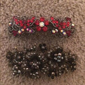 Accessories - 2 Large Flower Crystal Barrettes
