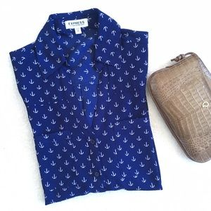 Express Anchor Print Nautical Portofino Shirt