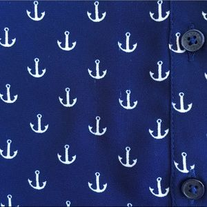 Express Tops - Express Anchor Print Nautical Portofino Shirt
