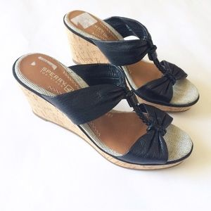 NEW SPERRY Top-Sider black leather cork Wedges