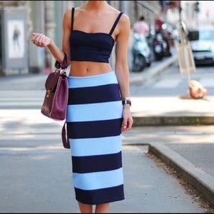 Bnwot Zara Striped Midi Skirt Size Small