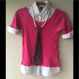 Knitworks Other - Kids pink school shirt with pink tie necklace