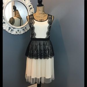 A'Reve Dresses & Skirts - Black lace and peach tulle party dress A'reve