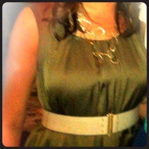 Hugo Boss Green silk Dress with belt