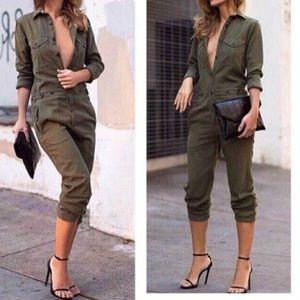Pants - Army green jumpsuit romper