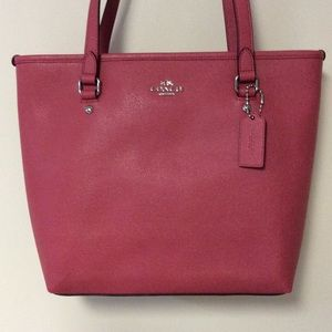 Coach Leather Zip Top Tote NWT