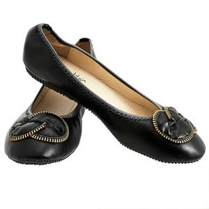 Women Flower Zipper Ballet Flats, b-1308, Black