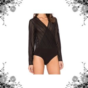Bardot Tops - Bardot Black Striped Bodysuit