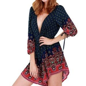 Pants - Floral jumpersuit romper