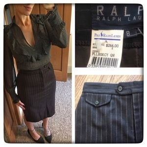 Ralph Lauren Black Label Dresses & Skirts - Ralph Lauren Black Label Brown pinstripe skirt