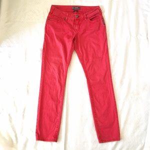 Silver Jeans Denim - SILVER Suki Skinny Jeans Red Stretch Cotton
