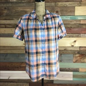 French Connection Pink & Blue Plaid Peter Pan