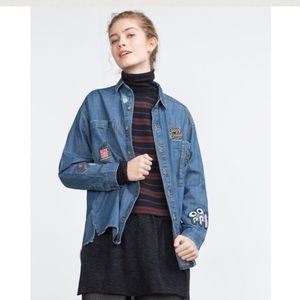 Zara Tops - BNWT Zara denim patch logo shirt L